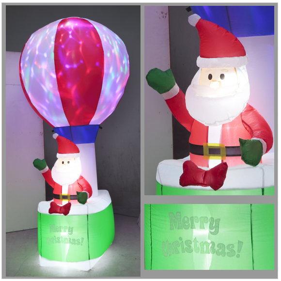 光るエアーディスコライトディスプレイ バルーンサンタ 240cm (6514・クリスマスイルミネーション エアブロー・店舗 ディスプレイ 飾り・イベント用)*