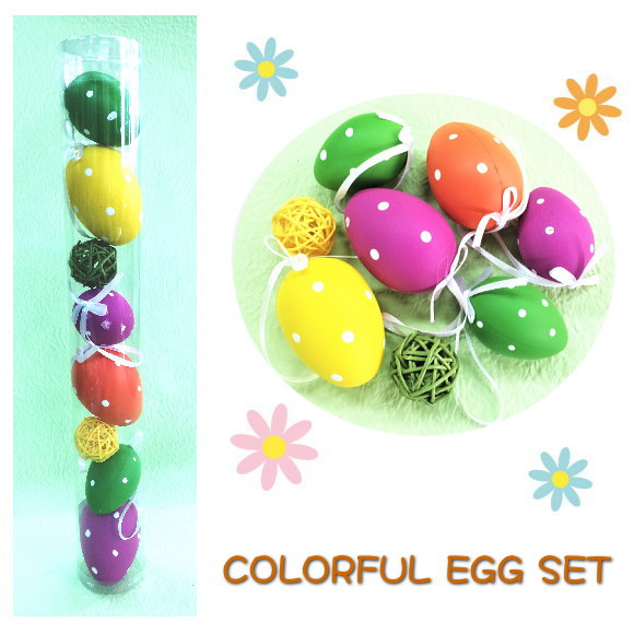 店舗ディスプレイやアレンジメントに☆ 送料無料 24個セット ハッピーイースター カラフルエッグセット 8PCS EGG01 イースターエッグ 飾り 卵 お洒落 かわいい EASTER ディスプレイ 贈答品 イベント たまご アレンジ