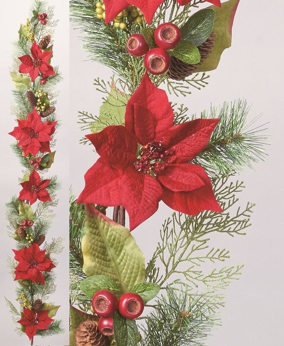 180cm mixture poinsettia Garland decorations Christmas wreath decoration display