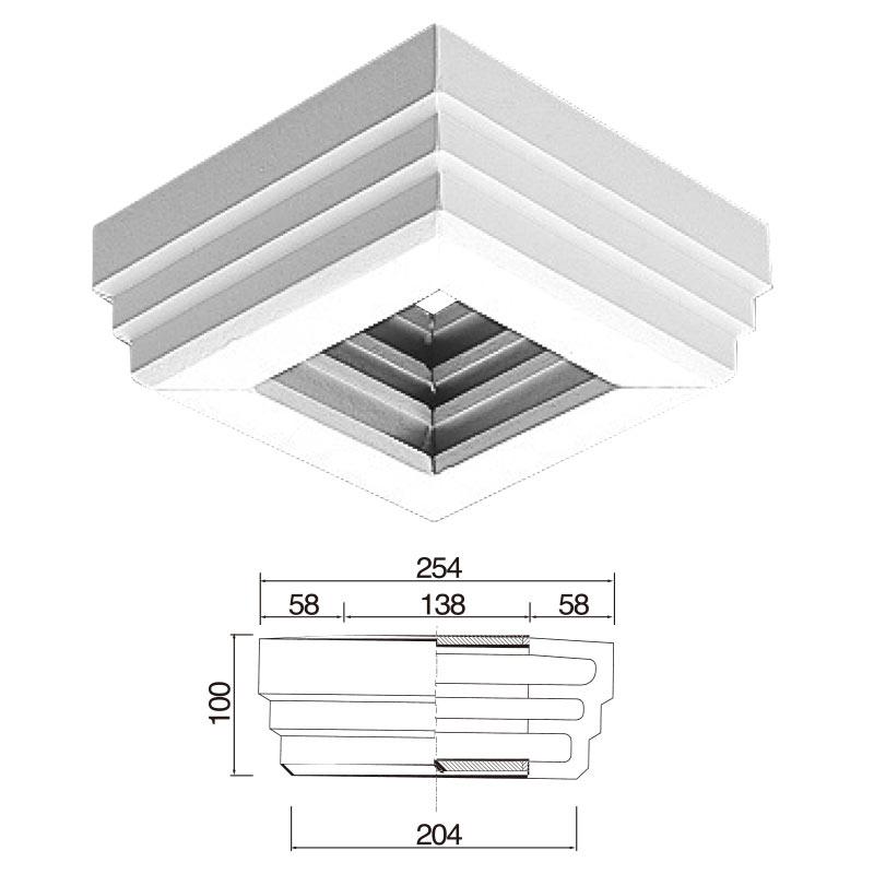 【NEX200B】不燃材料認定品 NEXモール 柱用見切 254×100×204mm ※送料別途見積