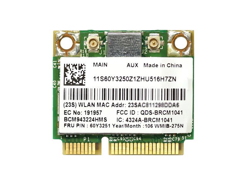 ノートパソコン用無線LANアダプタ WLC03020 Lenovo純正 60Y3251 BCM943224HMS BCM43224 デュアルバンド 2.4GHz 300Mbps まとめ買い特価 無線LANカード 5GHz g 爆買い送料無料 n b 802.11a