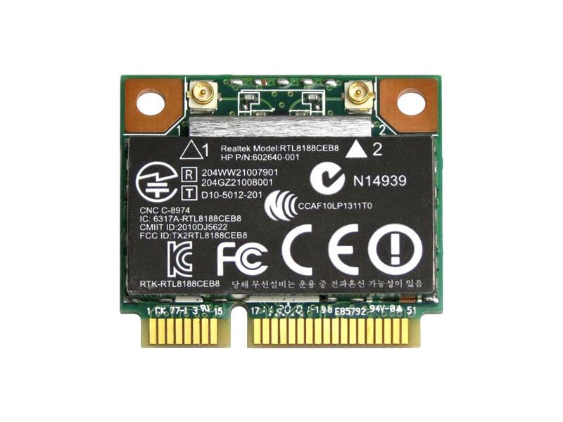 ノートパソコン用無線LANアダプタ●WLC04008●  HP純正 602993-001 + 汎用 Realtek RTL8188CEB8 802.11 b/g/n + Bluetooth 3.0 PCIe mini half 無線LANカード for HP Pavilion dv6 dv7 G6 G7 / HP ProBook 4230s 4330s 4530s 4535s 4730s