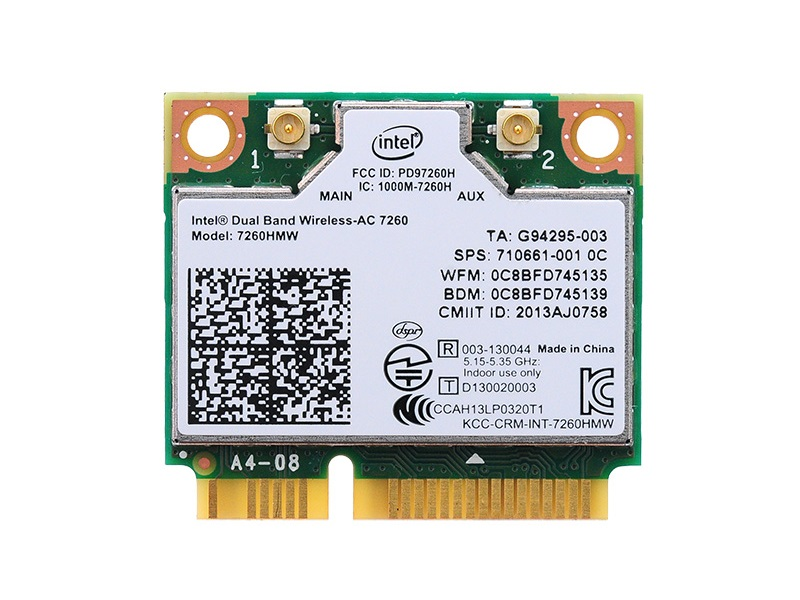 インテル Intel Dual Band Wireless-AC 7260 デュアルバンド 2.4/5GHz 802.11ac 最大867Mbps + Bluetooth 4.0 PCIe Mini half 無線LANカード 7260HMW