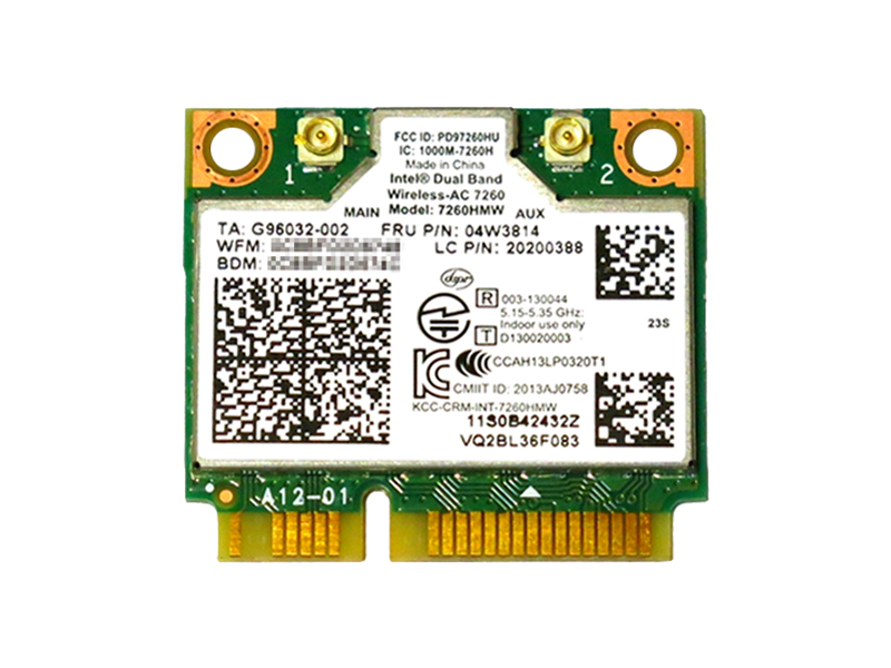 ノートパソコン用WiFi Bluetoothアダプタ WLC01060 Lenovo純正 04W3814 SALENEW大人気! 04X6010 04X6090 Intel Dual Band Wireless-AC 7260 867Mbps 802.11ac + Bluetooth 4.0 無線LANカード Z410 E540 S540 for ThinkCentre M93 E93z Y510P Thinkpad E73z M73z E440 K4350 全国どこでも送料無料 K4250 M93p 7260HMW S440 Y410P