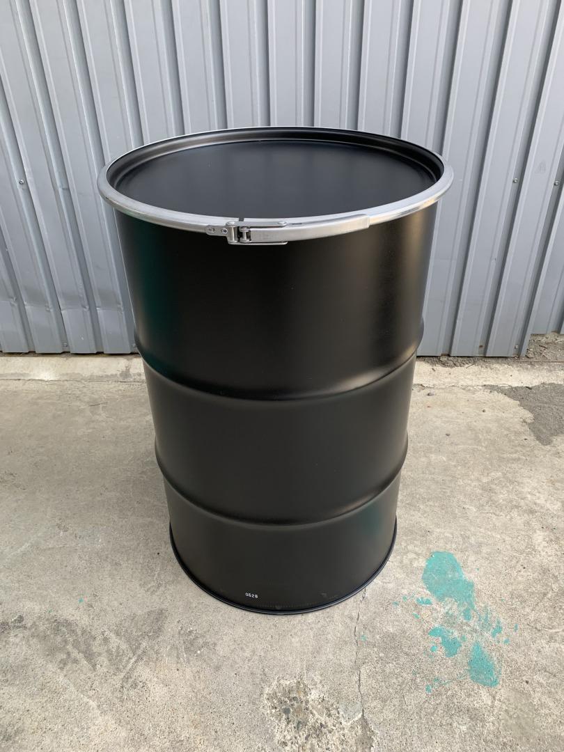 マットブラック 200Lオープンドラム缶 (内面塗装無し)【北海道・沖縄・離島は送料別途】