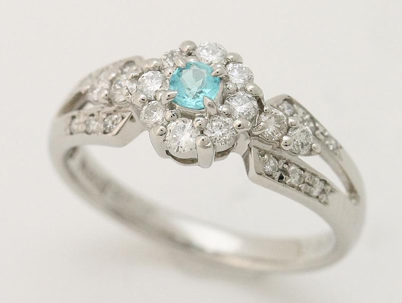 【送料無料】Pt900・プラチナ・トルマリン・ダイヤモンド・ファッションリング・0,10ct・0,38ct・3,9g・新品仕上げ済み・#12・指輪・指環・ゆびわ【中古】