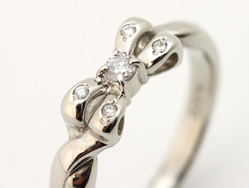 【送料無料】Pt900・プラチナ・ダイヤモンド・ファッションリング・指輪・指環・ゆびわ・0,10ct・4,8g・新品仕上げ済み・展示傷あり・#11,5【中古】