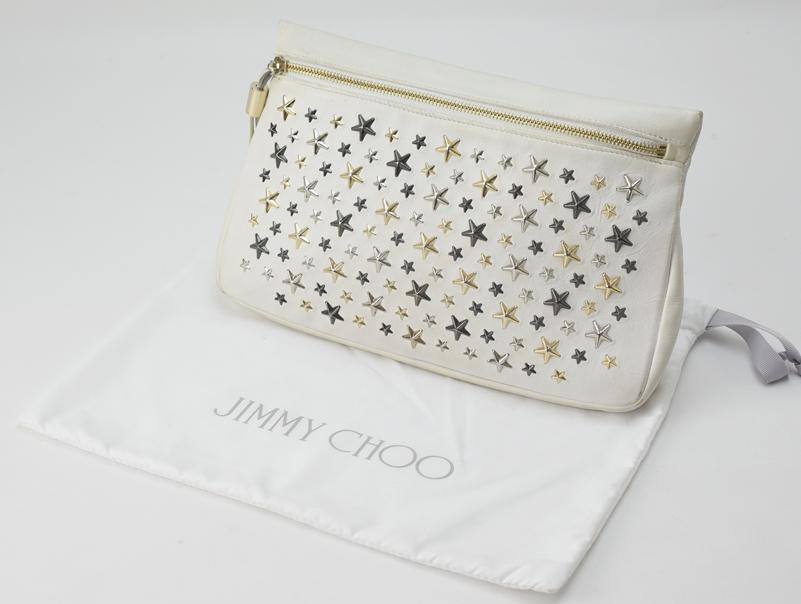 【送料無料】JIMMY CHOO・ジミーチュウ・クラッチバック・レディース・白・ホワイト・表面黒汚れ有・使用感あり【中古】