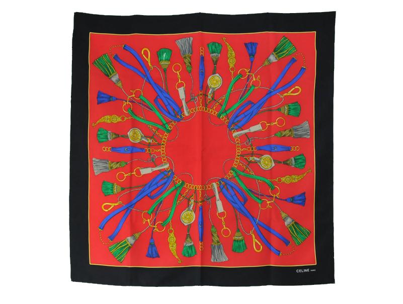 【送料無料】セリーヌ・CELINE・スカーフ・赤・黒・レッド・ブラック・シルク100%【中古】