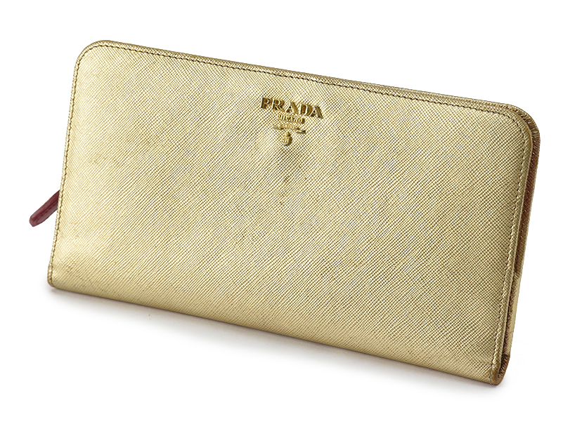 【送料無料】プラダ PRADA ゴールド ピンク 長財布 財布【中古】【質屋出品】