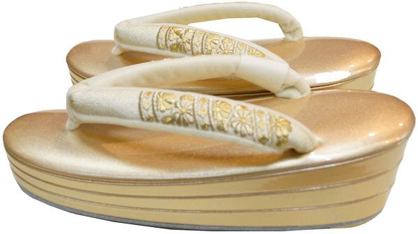 【小さい足のぞうり】【Sサイズ】本皮・三段重ぞうり金の台に【刺繍の花緒】