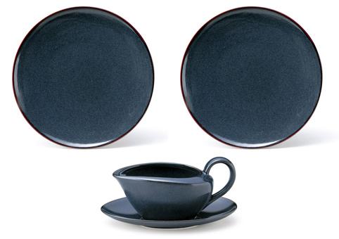バローネブルー カレー向けセット 大皿2枚 ソースポット1個【萬古焼】[食器]