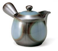 四日市萬古焼の急須です素敵な形です 2号 未来形 青 急須 品質検査済 平網 萬古焼 紫泥急須 ティーポット 陶器 緑茶 茶器 ついに再販開始 お茶