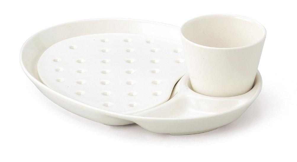 モーニングプレートセット ホワイト 萬古焼 送料無料 万古焼 カフェ風 プレート ランチプレート モーニングプレート ワンプレート 白 食器 陶器 往復送料無料 水切りプレート 盛り付け皿 仕切り