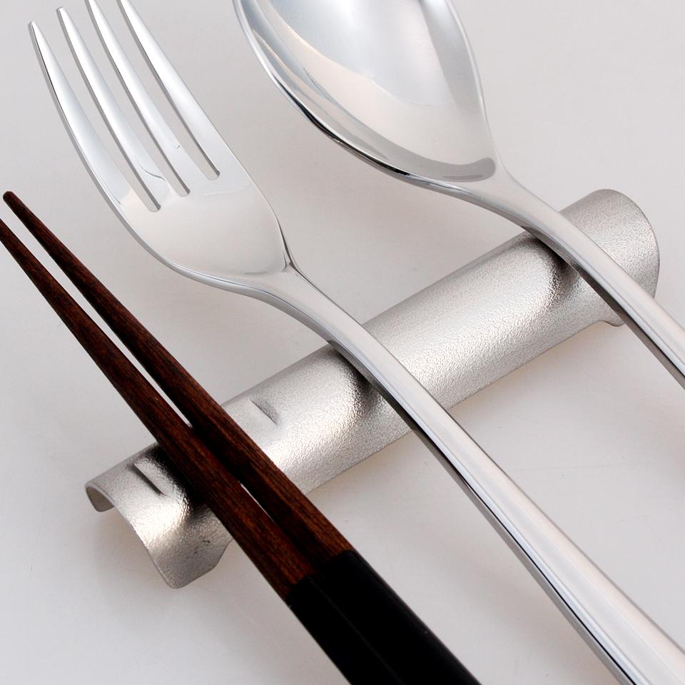 ドーム型 ステンレスナイフ&フォーク箸レスト ゴールド LT6