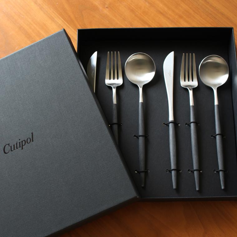 クチポール Cutipol GOAシリーズ マットシルバー ギフトセット 6ピース(ディナーナイフ、ディナーフォーク、テーブルスプーン各2本)【あす楽対応】