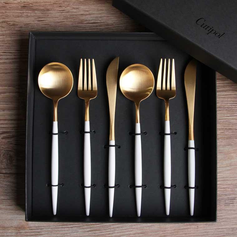 クチポール Cutipol GOAシリーズ ホワイトゴールド ギフトセット 6ピース(ディナーナイフ、ディナーフォーク、テーブルスプーン各2本)