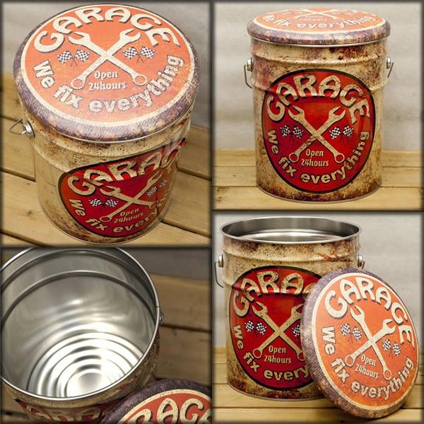 ペール缶スツール GARAGE 椅子 収納 収納いす 便利 アメリカン雑貨 世田谷ベース ガレージグッズ