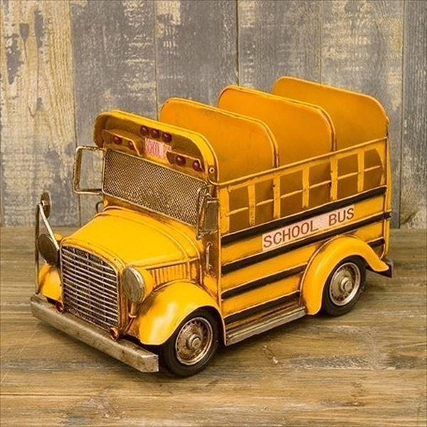 ヴィンテージカー ブリキおもちゃ CDボックス  アンティーク アメリカ雑貨 ガレージグッズ 店舗 オールドアメリカン/スクールバス