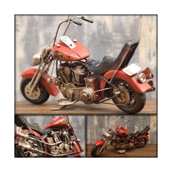 ヴィンテージバイク ブリキおもちゃ バイクオブジェ ハーレー チョッパー 模型 アメリカ雑貨 /ファイアバイク