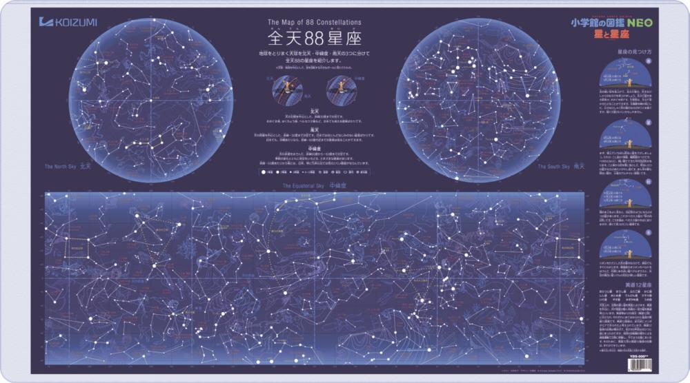 送料無料2022年度コイズミ デスクマット星と星座YDS-685SU 商品 推奨 蓄光加工で星座が光る両面クリア