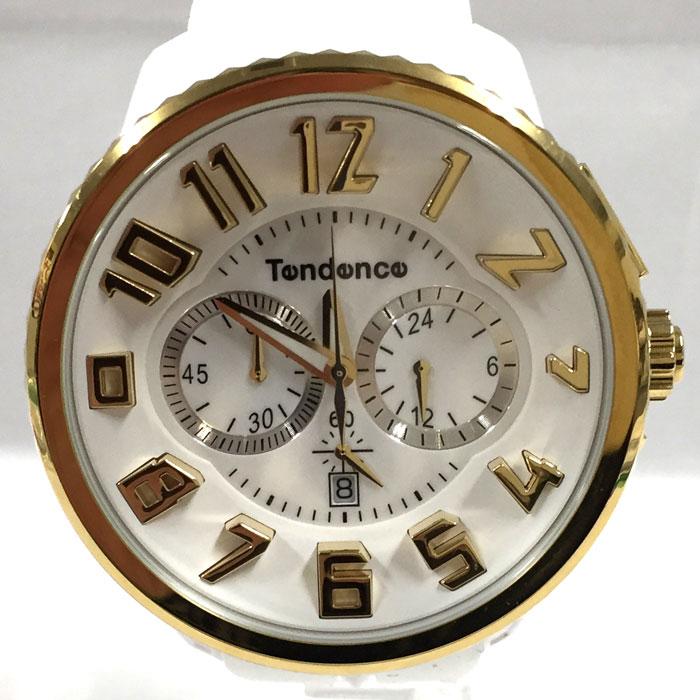【中古】テンデンス レディース腕時計 ガリバー クオーツ ポリカーボネート/SS ホワイト ゴールド TY046019[jggW]