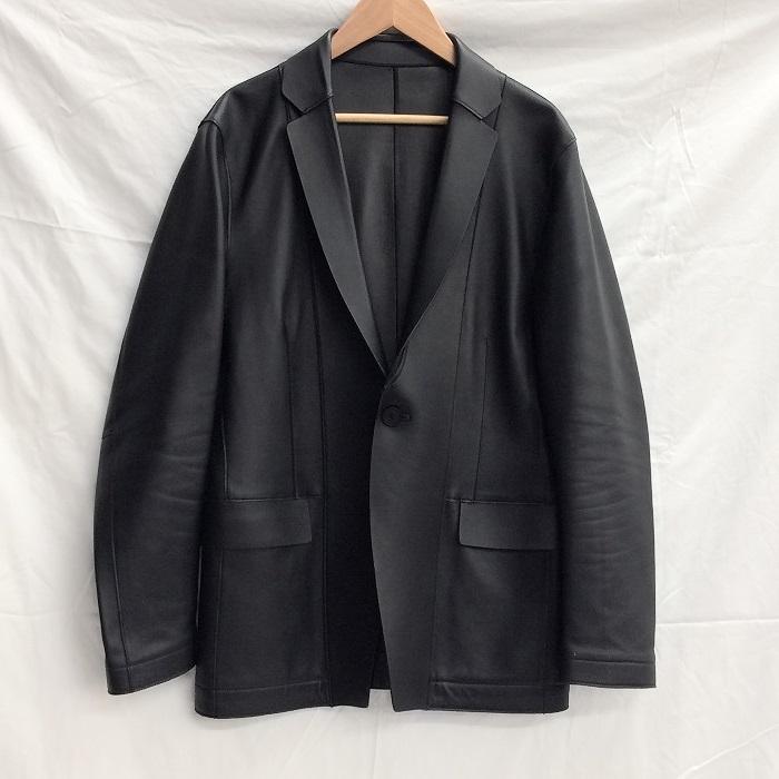 【中古】カルバンクライン メンズ テーラードジャケット 羊革/レザー ブラック 表記サイズ:34[jggI]