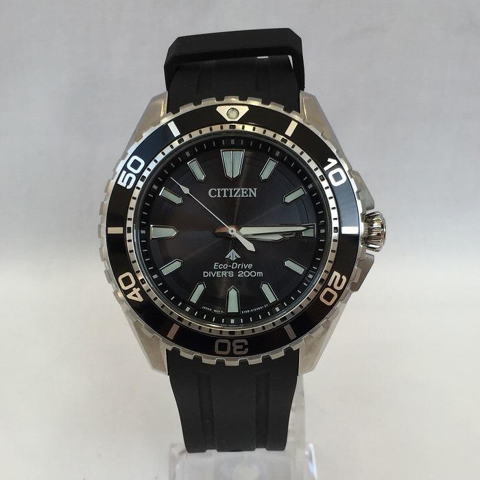 【中古】シチズン プロマスター ダイバーメンズ腕時計 E168-S111501 エコドライブ SS ラバー ブラック シルバー[jggW]
