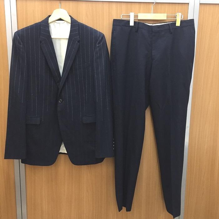 【中古】ポールスミス ブリティッシュコレクション メンズスーツ 上下セット ネイビー ストライプ サイズ表記L[jggI]