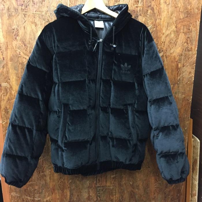 【中古】アディダス メンズ ベロアダウンジャケット 90s ブラック AA-6127 表記サイズ:S-M [jggI]