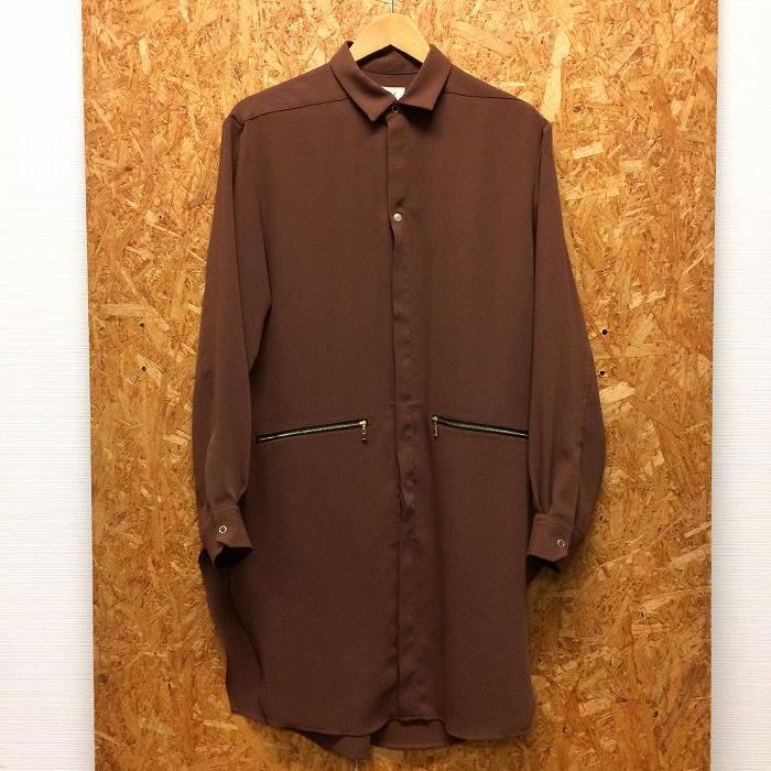 【中古】クルニ メンズ ロングシャツ ロングベネシャンシャツ 18AW ブラウン 表記サイズ:2[jggI]