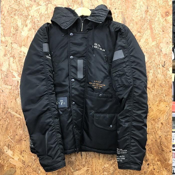 【中古】アビレックス メンズ ミリタリージャケット N-3 マルチポケット ステンシルジャケット 6162147 ブラック 表記サイズ:L[jggI]