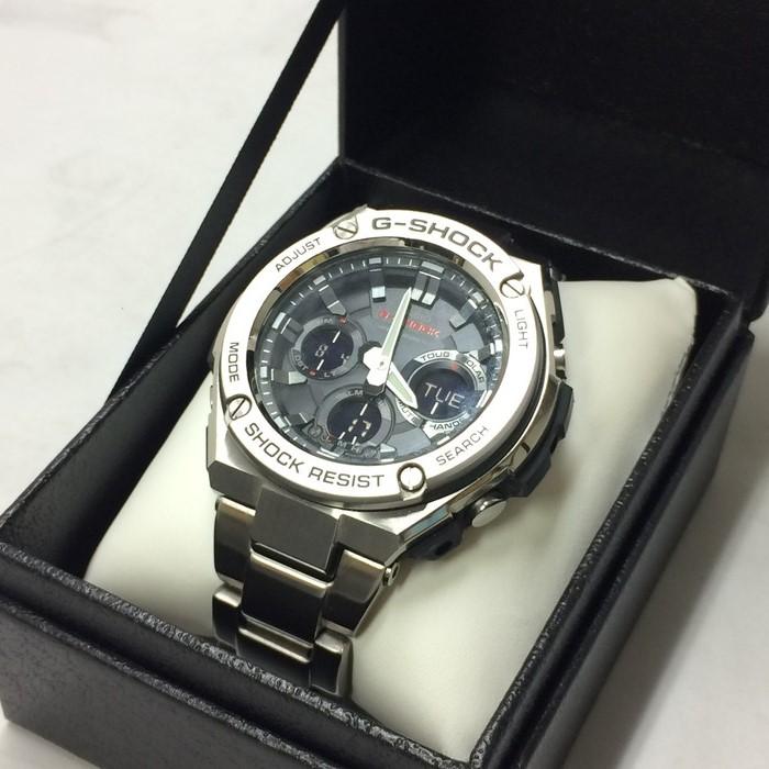 【中古】カシオ ジーショック メンズ腕時計 Gスチール GST-W110D ソーラー SS 黒文字盤 シルバー[jggW]