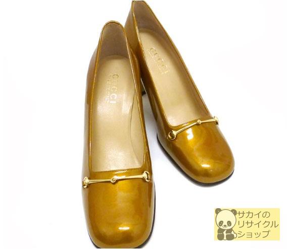 GUCCI ヒール パンプス ホースビット ゴールド金具 エナメル ゴールド 表記サイズ:37C【中古】