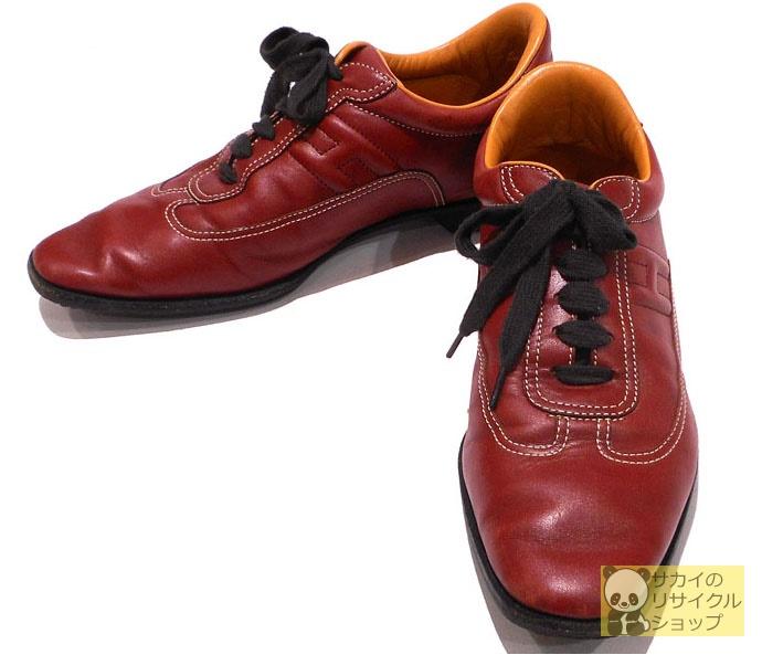 HERMES クイック スニーカー ブラウン レザー 【レディース】【shoes】【中古】
