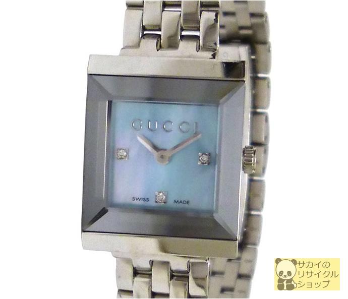 GUCCI レディース腕時計 Gフレーム SS 3Pダイヤ クオーツ ブルーシェル文字盤【中古】
