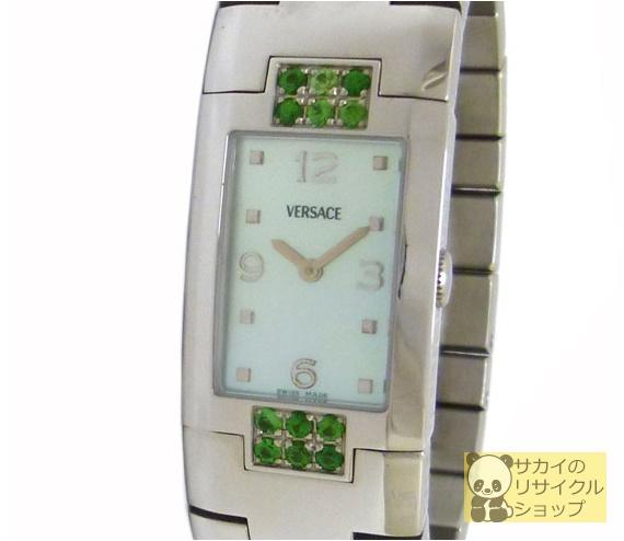 ヴェルサーチ VERSACE レディース腕時計 SS ラインストーン(グリーン) クオーツ シェル文字盤【中古】