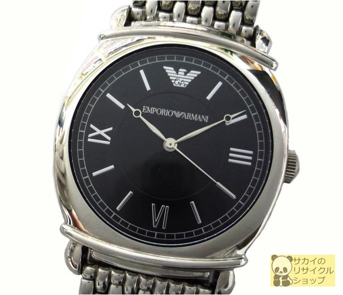 EMPORIO ARMANI エンポリオアルマーニ メンズ腕時計 SS クオーツ ブラック文字盤【中古】