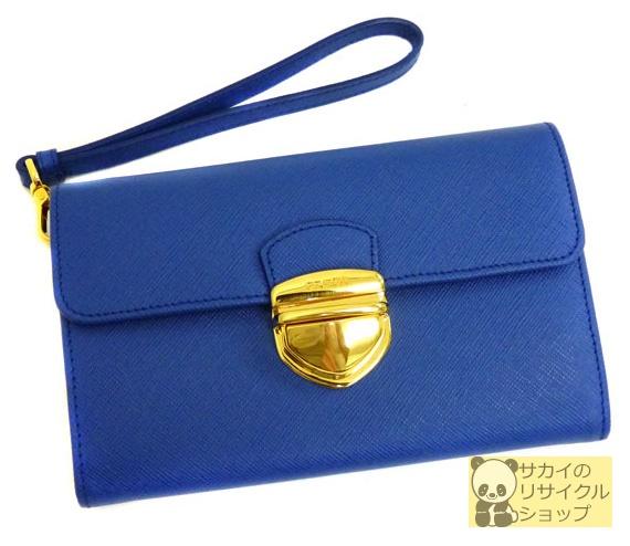 PRADA ストラップ付き2つ折り財布 ブルー サフィアーノ レザー 【中古】