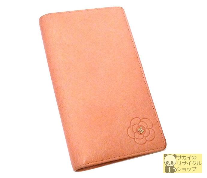 CHANEL 二つ折り長財布 カメリア ココマーク ピンク レザー【中古】