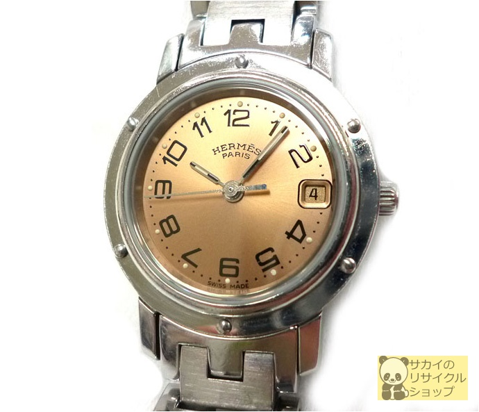 HERMES レディース腕時計 クリッパー SS クオーツ サーモンピンク文字盤 【中古】