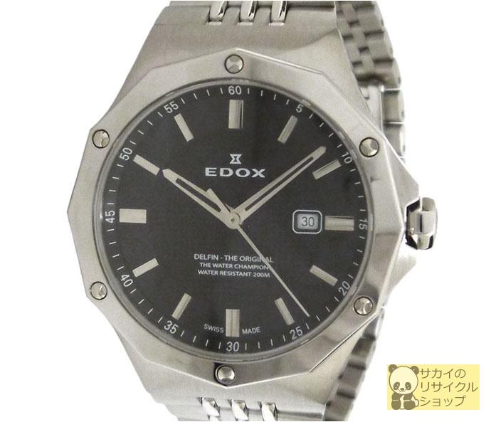 EDOX エドックス レディース腕時計 デルフィン SS クオーツ ブラック文字盤【中古】