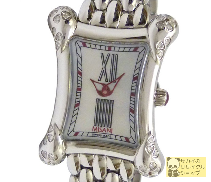 MISANI ミザーニ レディース腕時計 エルミタージュ SS×ダイヤモンド クオーツ シェル文字盤【中古】