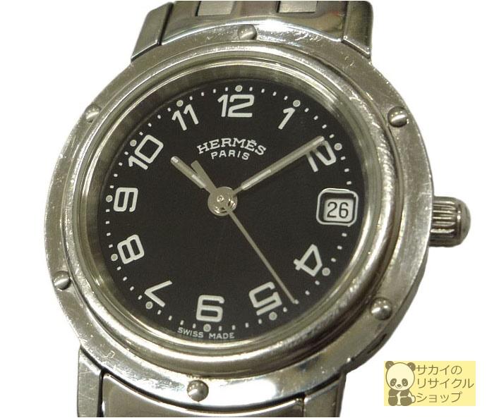HERMES レディース腕時計 クリッパー SS クオーツ ブラック文字盤【中古】