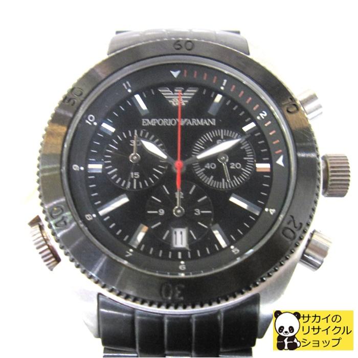 中古 エンポリオアルマーニ メンズ腕時計 AR-0547 クロノグラフ クオーツ[ic]【中古】