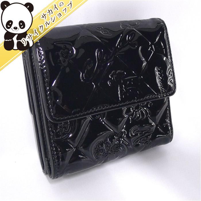 CHANEL シャネル Wホック財布 アイコン ブラック パテント A48053 【送料無料】