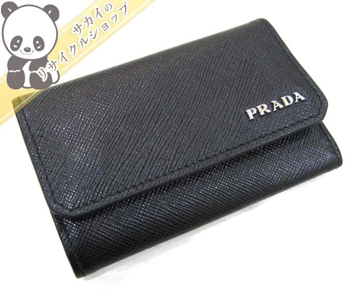 PRADA プラダ 6連キーケース サフイアーノ レザー ブラック 2PG222 【美品】