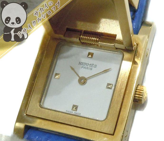 【中古】HERMES レディース腕時計 メドール クオーツ ブルー×ゴールド ME1.201
