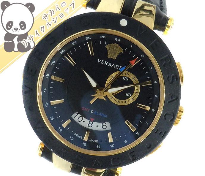 新発売の VERSACE ヴェルサーチ Vレース GMT クオーツ レザーベルト ブラック文字盤 29G 【mens】【watch】【送料無料】【美品】, ヌマクマチョウ cb7ef589