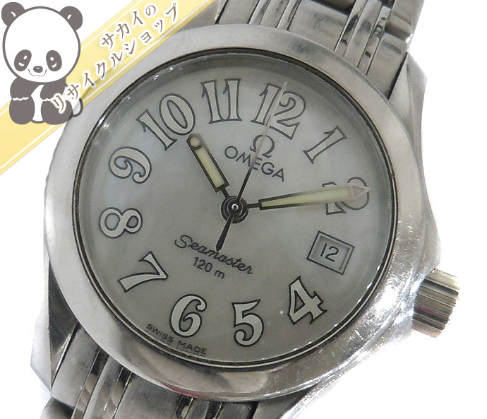 【中古】OMEGA シーマスター レディース腕時計 ステンレス クオーツ シェル文字盤 2581.70